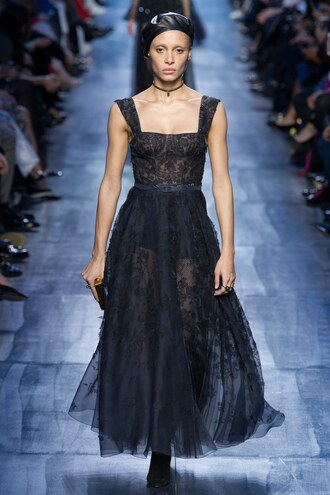 dress adwoa aboah gown dior runway lace dress paris fashion week 2017 fashion week 2017 see through dress