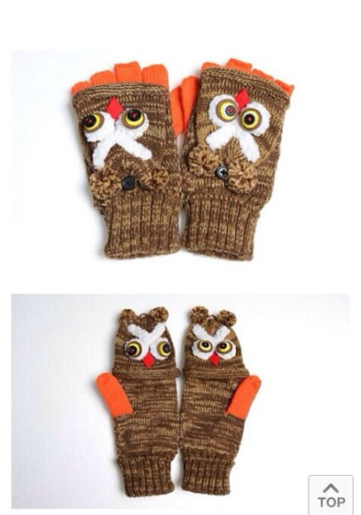 owl scarf gloves fingerless fingerless gloves brown