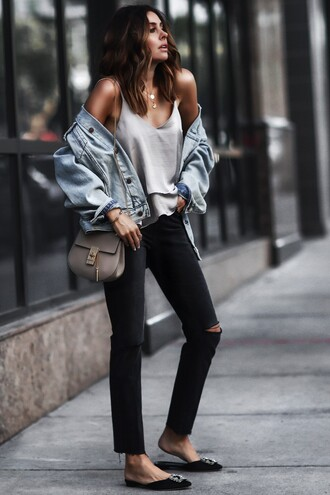 fashionedchic blogger shirt jeans shoes bag jewels denim jacket slippers black jeans spring outfits tank top