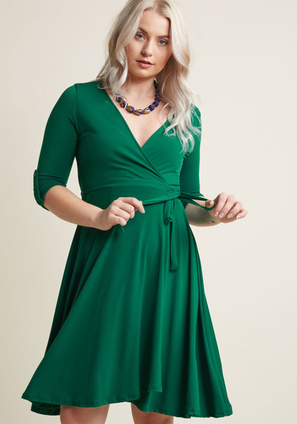 MDD1081 dress wrap dress classic texture knit green