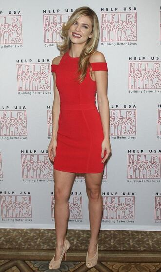 dress red dress annalynne mccord sandals mini dress