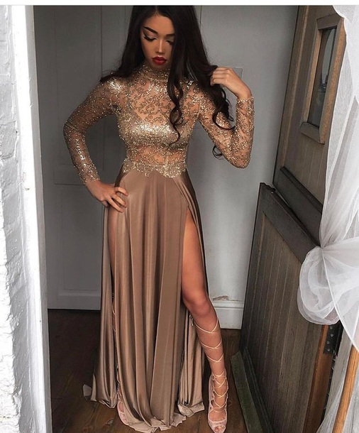 Gold prom dress long