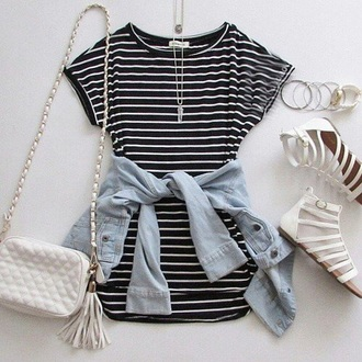 dress black white stripes short sleeve striped shirt nastygal black and white striped dress