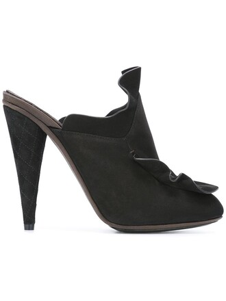 women mules leather cotton black shoes