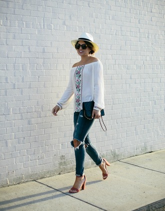 life & messy hair blogger top shoes bag hat jewels sunglasses sandals high heel sandals spring outfits white blouse ripped jeans