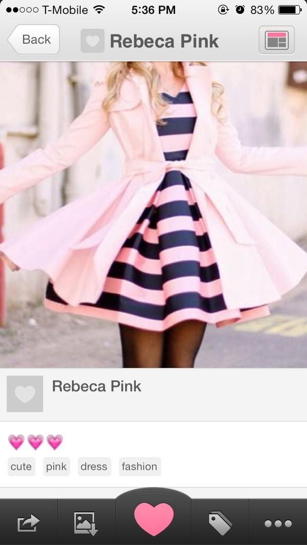 dress pink and navy striped dress flowy dress pink dress cute dress pink trench coat coat feminine pink fashion style jacket cardigan