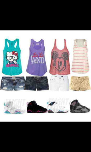 shorts mickey mouse shoes jordans hello kitty