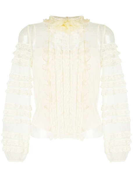 RED VALENTINO blouse women lace nude silk top
