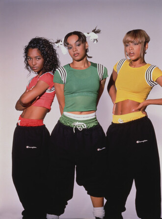 pants swag 90s style vintage old grunge top t-shirt tlc oversized crop crop tops tracksuit trousers