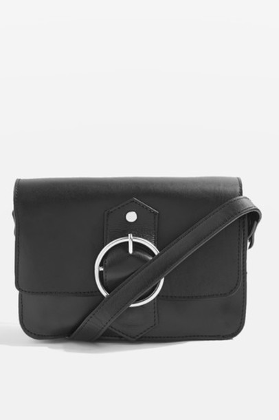 Topshop cross bag leather black