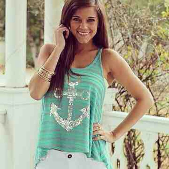 teal shirt tank top t-shirt teal shirt fashion anchor tank anchor anchor top