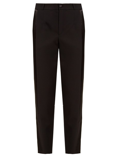 lanvin wool satin black pants