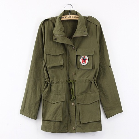 Hooded drawstring green army jacket