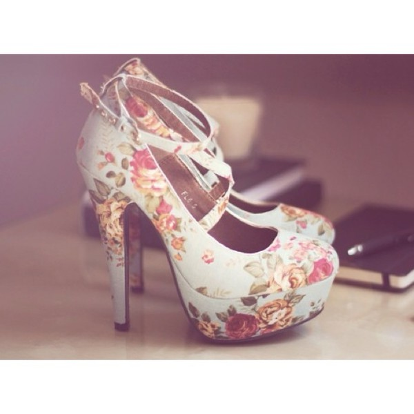 shoes flower shoes high heels