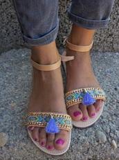shoes,pom pom,tasseled,tassel,flats,sandals,beach,boho,beaded,anklet,straps
