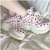 shoes,trainers,sneakers,pastel,heart,girly,white,harajuku,grunge,alternative,chunky boots,sportswear,girly shoes,harajuku shoes
