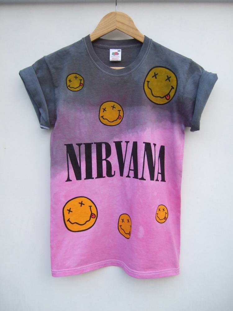 Tappington and wish — nirvana grey pink dip dye faces shirt