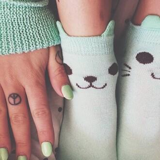 shoes cats kitty socks cute kawaii mint whiskers tattoo green