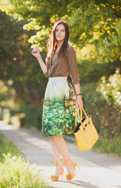 the bow-tie,blogger,shirt,shoes,bag,yellow,yellow bag,floral skirt,long sleeves,button up,brown,lace up heels,yellow shoes,midi skirt