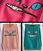 sweater,cats,zip,hinge,hoodie,eyes,face,cute,green,pink,nude,sweatshirt,lovely,funny sweater,funny,funny shirt,strange,clothes,fashion blogger,blogger style