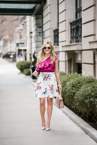 bows&sequins blogger top skirt shoes bag sunglasses jewels mini skirt pumps high heel pumps spring outfits