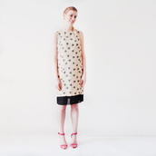 dress,summer,simple dress,shift dress,shift,bej dress,heart,heart dress,simple print,kawaii dress,kawaii,summer dress,women,minimalist,simplicity,chiffon,chiffon dress,nude dress