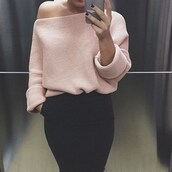 sweater,outfit made,fall outfits,warm,top,turtleneck,oversized sweater,off the shoulder sweater,light pink,knitted sweater