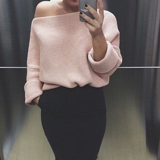 sweater outfit made fall outfits winter outfits pink blue cream kylie jenner warm top high neck turtleneck oversized sweater