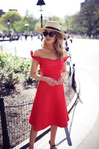 dress hat tumblr midi dress bardot dress off the shoulder off the shoulder dress red dress a line dress round sunglasses sun hat sunglasses