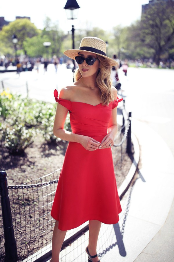dress hat tumblr midi dress bardot dress off the shoulder off the shoulder dress red dress a line dress round sunglasses sun hat sunglasses