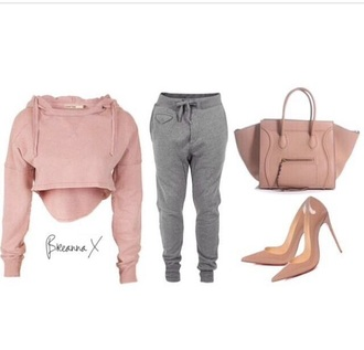pants grey sweatpants top shoes bag nude high heels cardigan hills joggers shirt dusty pink cropped hoodie