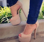 shoes,heels,tan shoes,t-strap heels,sparkly heels,cute high heels,open toe high heels,tan heels,pumps,platform shoes,high heels,nude,nude high heels,beige shoes,peep toe heels,plateau shoes