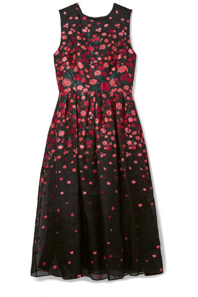 Lela Rose dress midi dress pleated midi black silk