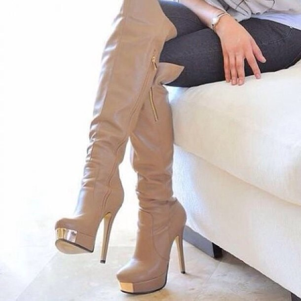 Cream Knee High Boots - Shop for Cream Knee High Boots on Wheretoget