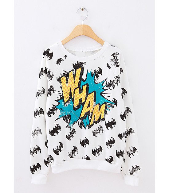 Freeshipping new 2014 spring batman WHAM Doodle letter cotton long sleeve pullover sweatshirt for women and men-in Hoodies & Sweatshirts from Apparel & Accessories on Aliexpress.com | Alibaba Group
