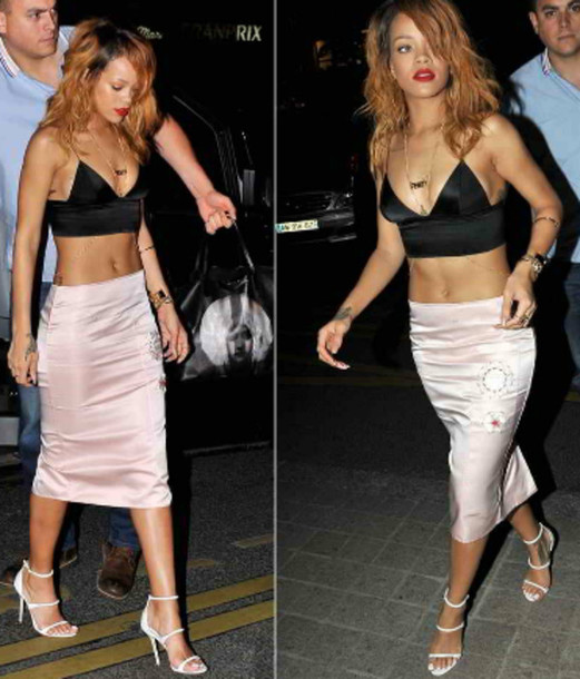 skirt top and skirt set rihanna pink midi skirt silk blouse sensible stylista blogger top shoes jewels