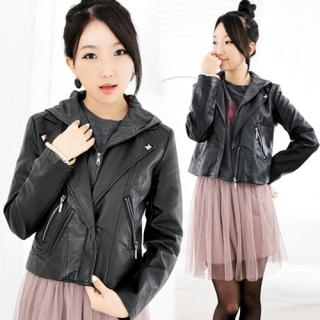YESSTYLE: Miss Hong- Detachable Hooded Faux-Leather Zip Jacket (Black - One Size) - Free International Shipping on orders over $150