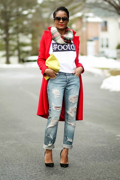 the daileigh t-shirt jeans coat scarf bag sunglasses shoes