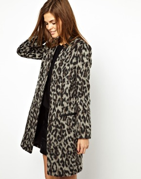 French Connection | French Connection Leopard Coat at ASOS
