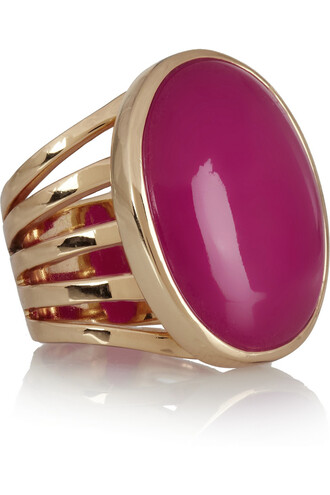 jewels gold ring gold-plated quartzite ring quartz fuschia quartzite isharya