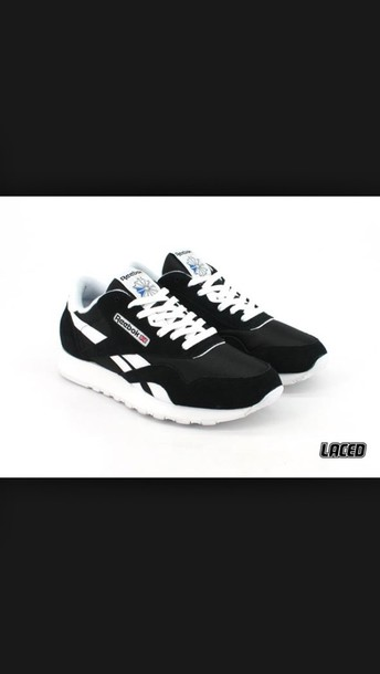 shoes black white reeboks