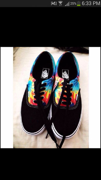 shoes vans vans of the wall colorful rainbow tie dye