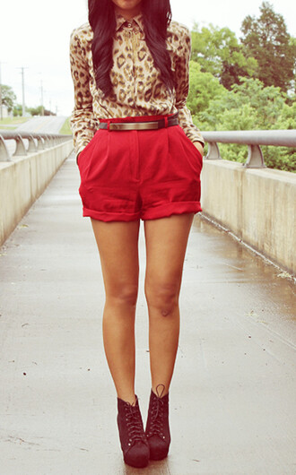 shoes leopard print long sleeve blouse collared shirts metal gold waist belt high waisted shorts red black booties black high heels cute outfits black shorts blouse red shorts heels booties high heels outfit chic classy elegant tumblr tumblr outfit t-shirt top