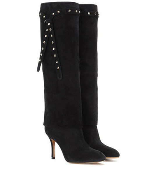 Valentino Embellished Suede Knee-high Boots in black