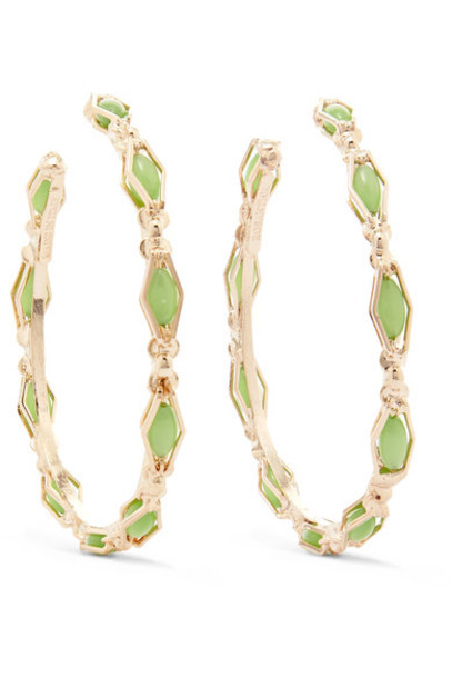 Rosantica earrings hoop earrings gold green jewels