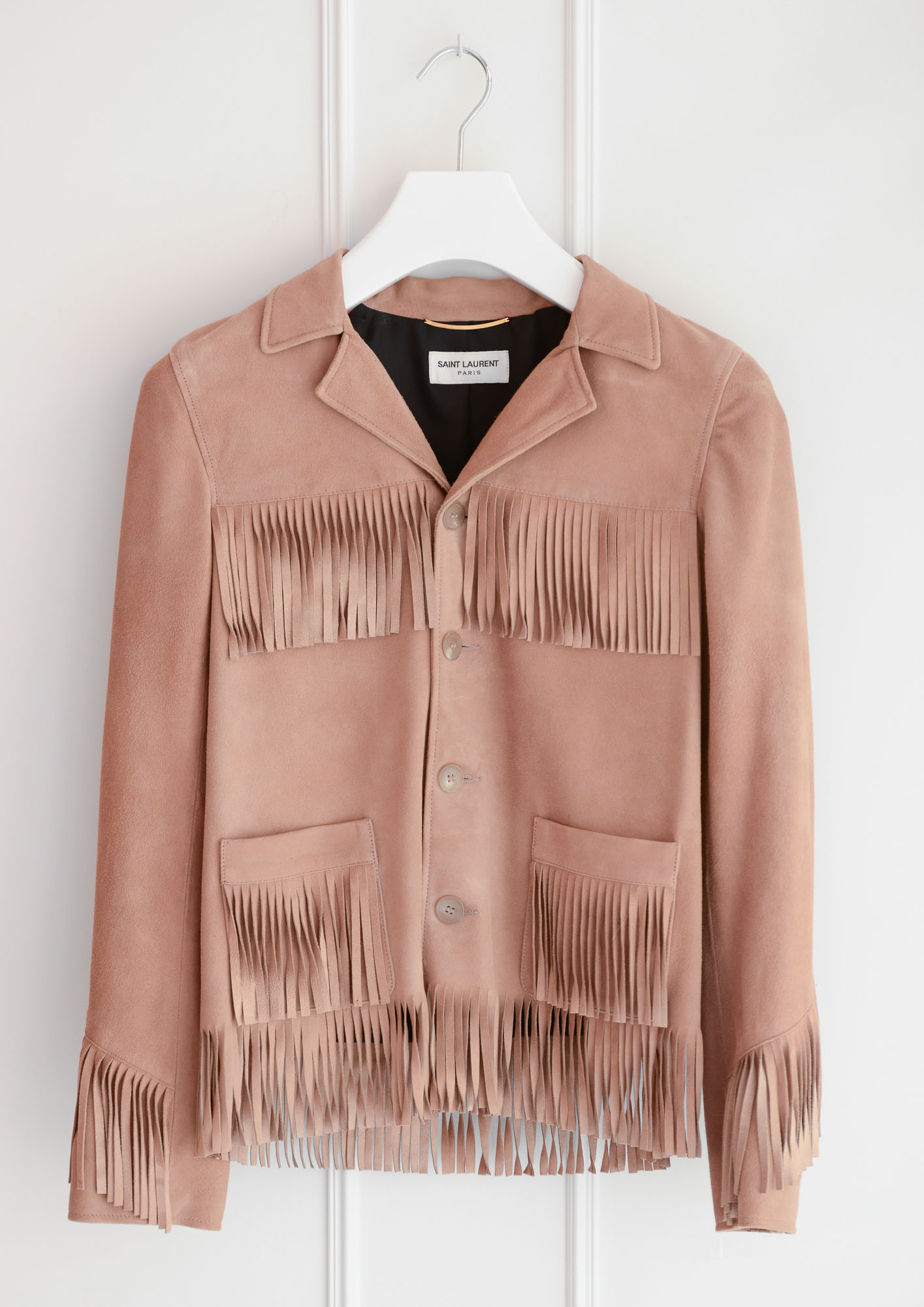 Saint Laurent Paris-Veste Camel à Franges - Departement Feminin
