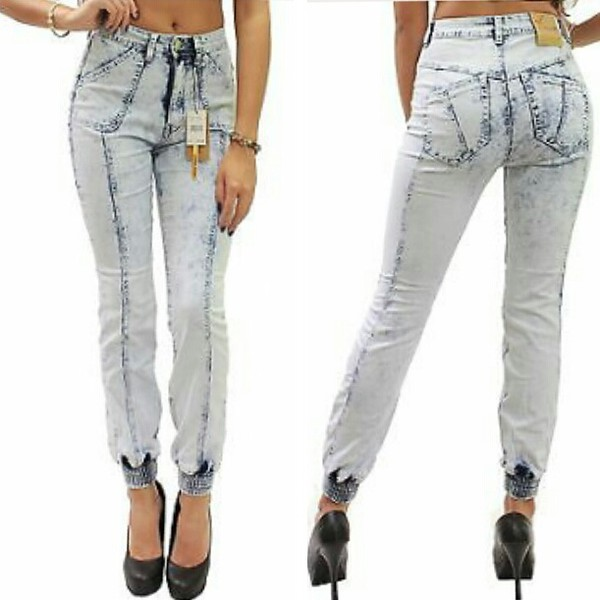 Light blue acid wash high waisted jeans