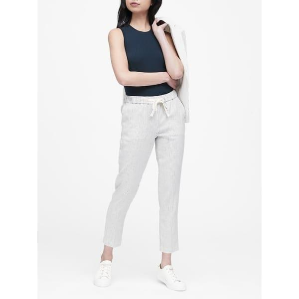 Banana Republic Women's Hayden Tapered-Fit Linen-Cotton Ankle Pant White Stripe Regular Size L