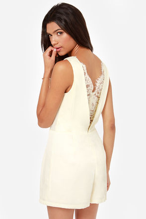 Cute Cream Romper - Lace Romper - $66.00