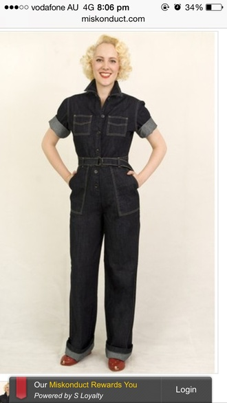 vintage jeans jumpsuit pin up grease monkey working worker
